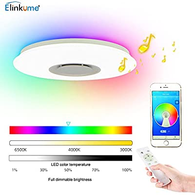 36W LED Music Ceiling Light - ELINKUME RGB Color Changing Modern Dimmable Drop Ceiling Lights with Bluetooth Control via Smart Phone APP for Living Room, Bedroom, Dining Room