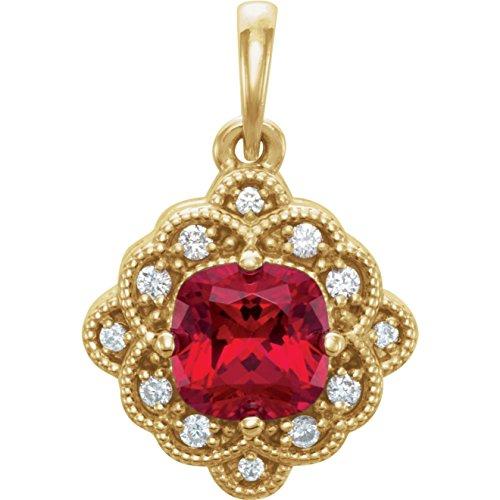 Bonyak Jewelry Lab-Created Ruby 14k Yellow Gold Chatham Created Ruby & .03 CTW Diamond Pendant