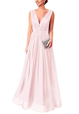 d0115f83905f AlfaBridal Double V Neck Long Blush Chiffon Bridesmaid Evening Dresses for  Weddings US2
