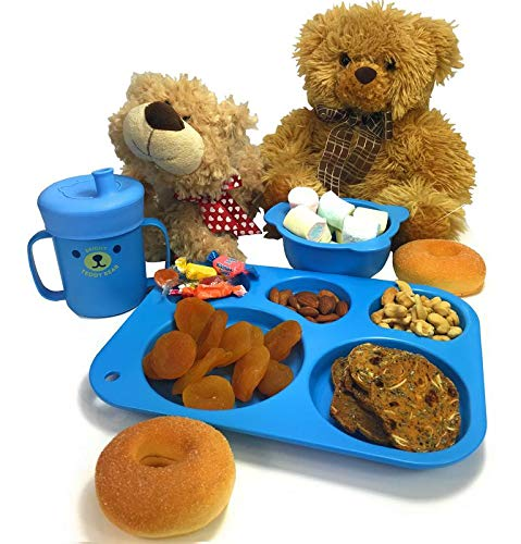 BRIGHT TEDDY BEAR –Kids Dinnerware Set - Child's Sectioned Plate, Bowl, Sippy Cup with Lid, Child Self- Feeding Utensils, Spoon, Fork, & Chopsticks. 8 piece, Microwave & Dishwasher Safe