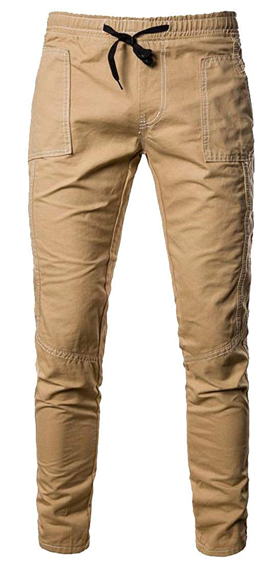 Etecredpow Mens Stretchy Distressed Elastic Waist Washed Jeans Solid Color Denim Pants