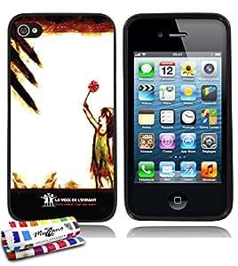 Carcasa Flexible Ultra-Slim APPLE IPHONE 4 de exclusivo motivo [La voix de l'enfant - Bombas] [Negra] de MUZZANO  + ESTILETE y PAÑO MUZZANO REGALADOS - La Protección Antigolpes ULTIMA, ELEGANTE Y DURADERA para su APPLE IPHONE 4