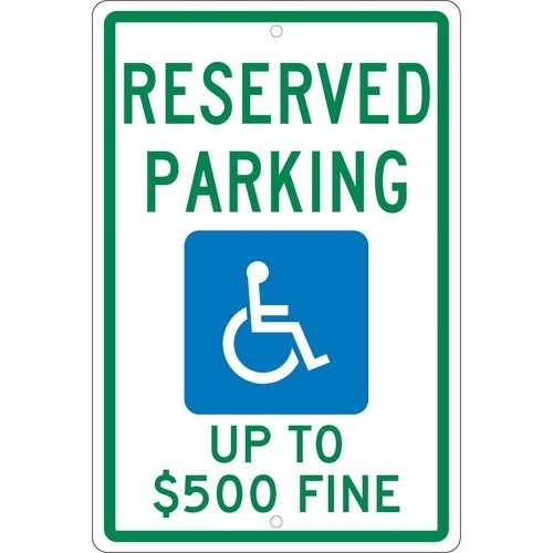 NMC TMS340H, 18''x12'' All Purpose Aluminum Reserved Parking Up to $500 Fine Sign, Pack of 12 pcs