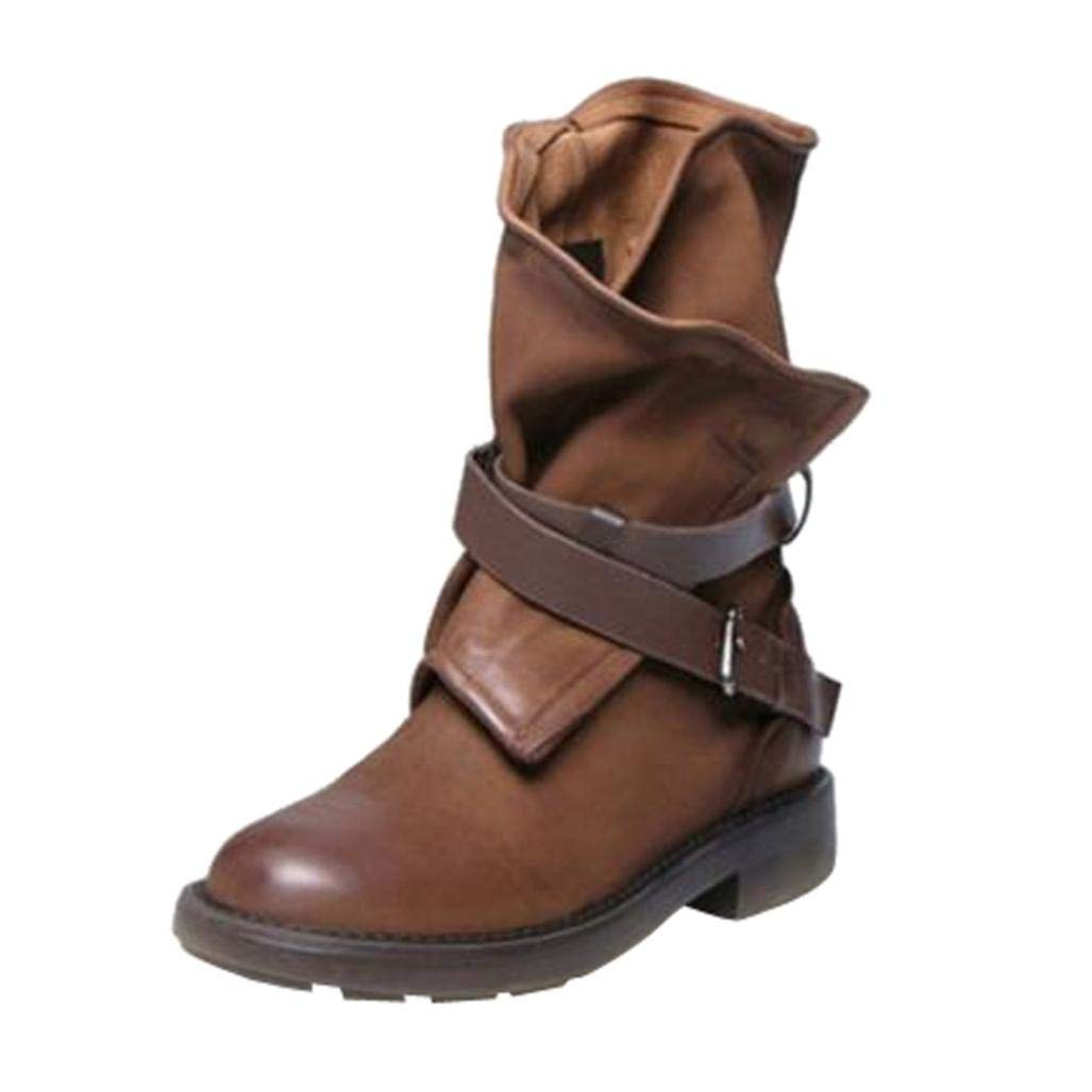 Clearance Sale Women Military Boots,Western Buckle Strap Artificial Leather Shoes 5.5-9.5 (Brown, US:8)