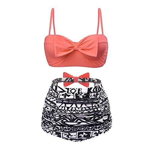 High Waist Bikini Set, Bowknot Print 2 Piece Swimsuits For Women Bathing Suit Ladies Swimwear - Piece Two Bathing Suit