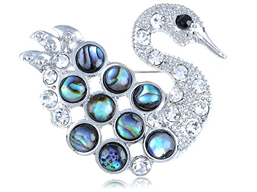 Black Swan Costume For Sale (Alilang Womens Silvery Tone Clear Rhinestones Abalone Colored Stones Swan Bird Brooch Pin)