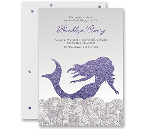Mermaid Birthday Invitations 1st Silver & Purple Glitter Look Personalized Boutique Invites with Envelopes Any Age - Brooklyn (Nautical First Birthday Invitations)