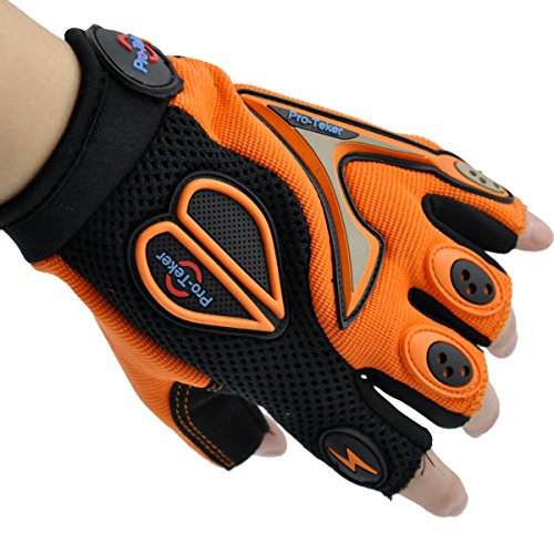Pro-Teker Gloves,PTC-06B,Outdoor Half-finger Anti-slip Motorcycle Bike Racing Powersports driving gloves Cycling riding For Cross-country Road Sports (Orange, XL)