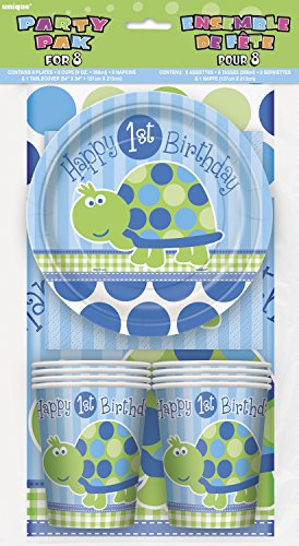 Turtle 1st Birthday Party Tableware Kit for 8