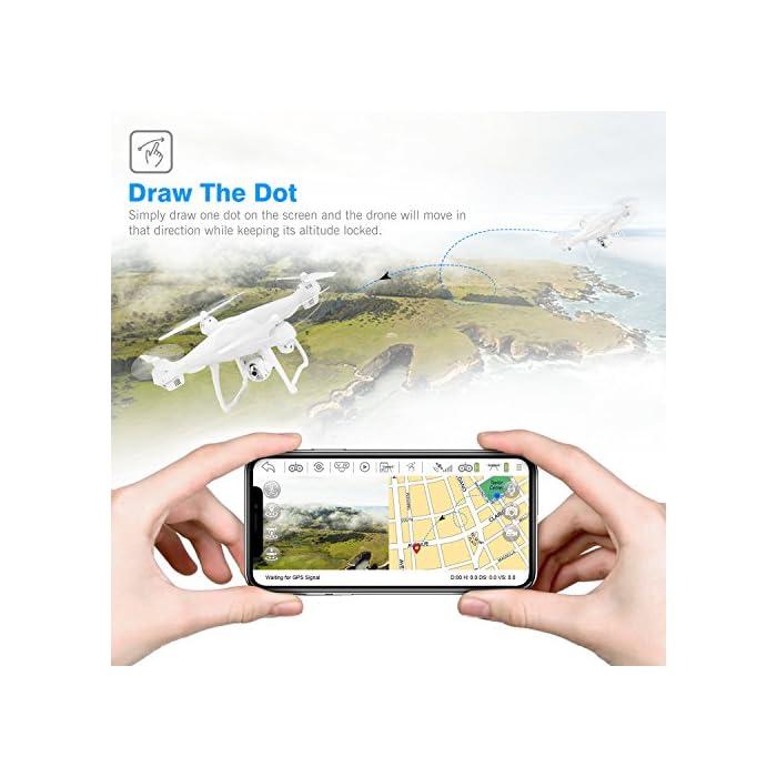 51uhhQDOTPL 【Vuelo Asistido por 2 Modos GPS】integrado GPS y GLONASS sistema de posicionamiento, le proporciona detalles de posicionamiento precisos de su Drone con camara HD. Construido en la función Return-to-Home (RTH) para un dron más seguro, el dron regresará automáticamente a su hogar precisamente cuando la batería está baja o la señal es débil cuando vuela fuera del alcance, sin preocuparse por perder el dron. 【Cámara Wi-Fi FPV 1080P 120 ° FOV Optimizada】drone camara angulo ajustable de 90 °, captura videos y fotos de alta calidad. Puede disfrutar de la visualización en tiempo real directamente desde su teléfono(Después de conectar wifi). Ideal para realizar selfie, capturando cada momento desde una perspectiva de pájaro. 【Modo Sígueme】el RC drone lo seguirá automáticamente y lo capturará donde sea que se mueva. Manteniéndolo en el marco en todo momento, más fácil de obtener tomas complejas, proporciona vuelo manos libres y autofoto. drone económico con GPS
