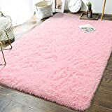Soft Girls Room Rugs - 5 x 8 Feet Fluffy Area Rug for Bedroom Kids Baby Living Room Nursery Home Decor Large Floor Carpet by AND BEYOND INC, Baby Pink