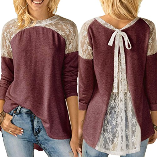 Hot Sale! Women Blouse Top, TRENDINAO 2018 New Lady's Lace Cotton Casual Long Sleeve Bowknot T-Shirt Blouse
