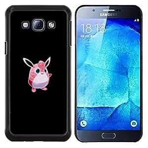 Meter monstruo rosado lindo- Metal de aluminio y de plástico duro Caja del teléfono - Negro - Samsung Galaxy A8 / SM-A800