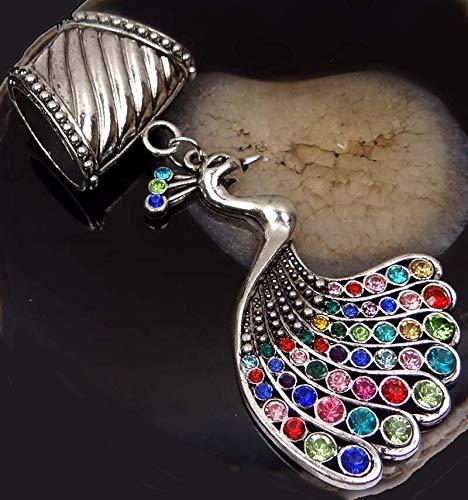 (1 Pendant) Scarf Pendant Silver Pewter Peacock w/Rhinestone Slide