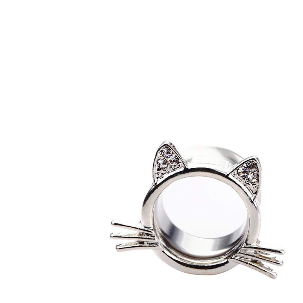 Yunzee 1PCS Crystal Cat Ear Expander Piercing Tunnels Gauge Ear Plugs Tunnels Gauges Stretcher Piercings Cat Shape Earring,Photo Color,Diameter 14mm