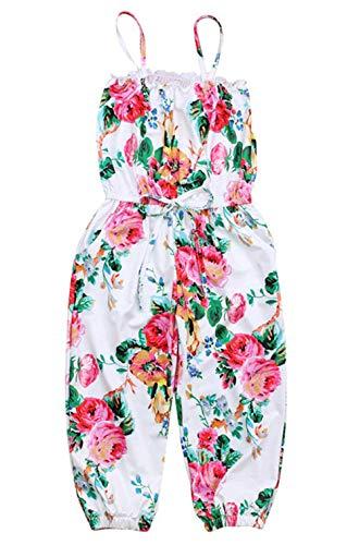 2-7T Baby Toddler Little Girls One-Pieces Floral Corset Romper Jumpsuit Harem Pants (White, 3-4T(100))