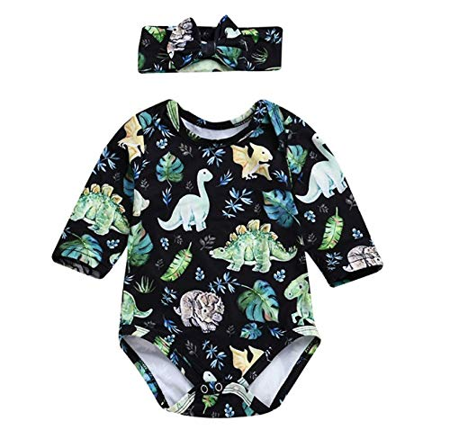 YOUNGER TREE Infant Baby Girl Dinosaur Plant Romper Long Sleeve Cartoon Print Onesies with Headband 2Pcs Outfits Clothes (Green, 0-6 Months) -