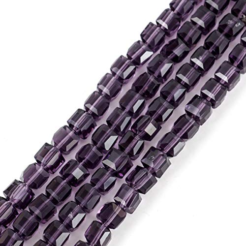 1 Strand Top Quality Czech Cube Crystal Glass Loose Beads 8mm Amethyst (~69-72pcs) for Jewelry Craft Making Supplies -