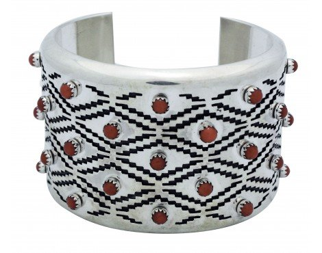 JR Tolino, Bracelet, Mediterranean Coral, Overlay, Silver, Navajo Handmade, 6.25