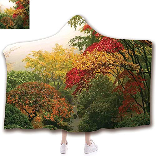 scocici Fashion Blanket Ancient China Decorations Blanket Wearable Hooded Blanket,Unisex Swaddle Blankets for Babies Newborn by,Fall at Portland Japanese Garden One Foggy,Adult Style Children Style