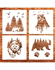4 Pack (12x12 Inch) Painting Drawing Wildlife Stencils Forest Bear and Claw Stencil for DIY Rock Painting Art Projects, Reusable