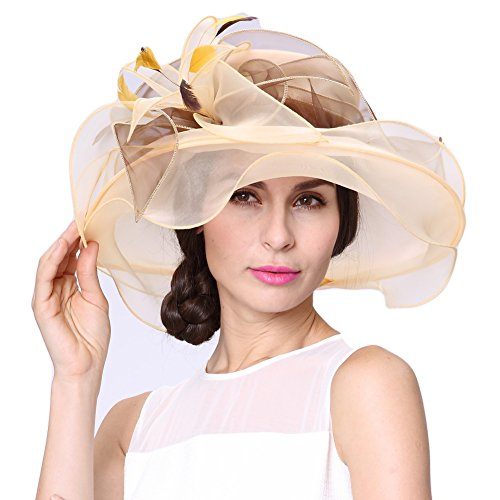 June's Young Women Race Hats Organza Hat with Ruffles Feathers -