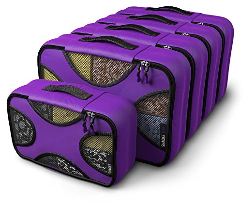 (Shacke Pak - 5 Set Medium/Small Packing Cubes - Travel Organizers (Orchid Purple))