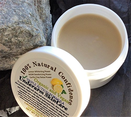 All Natural Underarm Lightening & Brightening Deodorant Triple Action Cream - Armpit Whitening, Milk of Magnesia 24 hr Deodorant, and Clay Power Detox