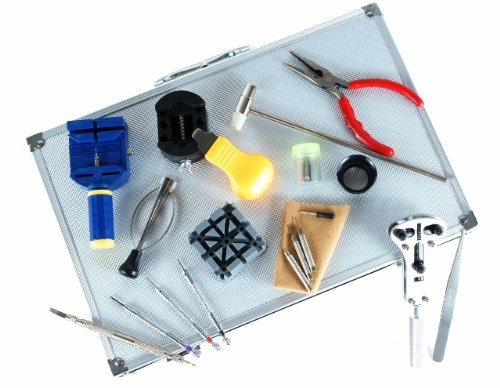 LGI Premium Watch Repair Kit with Reusable Aluminum Box - 20pcs DIY Watch Tool Kit