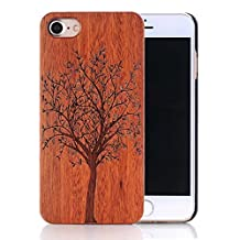 iPhone SE Case, Sunroyal Premium Natural Wood Grain [Drop Proof] Plastic Inner Hybrid [Shock Absorbent] Slim Hard PC Bumper Wooden Protective Case for iPhone SE and iPhone 5S / 5 (Tree)