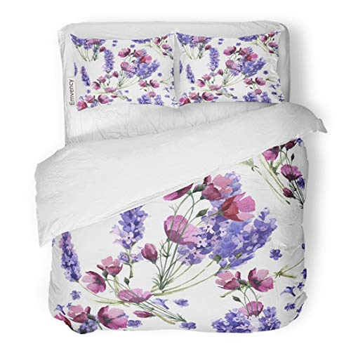 (Tarolo Bedding Duvet Cover Set Wildflower Lavender Flower Pattern in Watercolor Full Name of The Plant Aquarelle Wild for Border 3 Piece Twin 68
