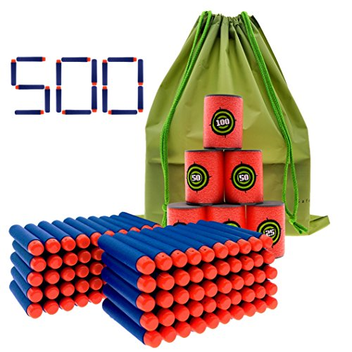 Coodoo Nerf Compatible Darts 500 PCS Refill Pack Bullets for Nerf N-Strike Elite Series Blasters Toy Gun - with Soft EVA Target and Storage (Blow Gun Foam Target)