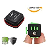 2 Pcs Fidget Cube for Stress and Anxiety with Protective Case Bumper Puzzle Cube for Stress Decompression Anxiety Focus ADHD Autism Adults Kids Students Gift (Black Green)
