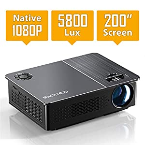 Native 1080P Projector,Crenova 5800 Lux LED Projector for Outdoor Movie, Video Projector with 200″ Display&50% zoom supported, home theater projector for iPhone, Laptop, Xbox, TV Stick, HDMI, VGA, USB