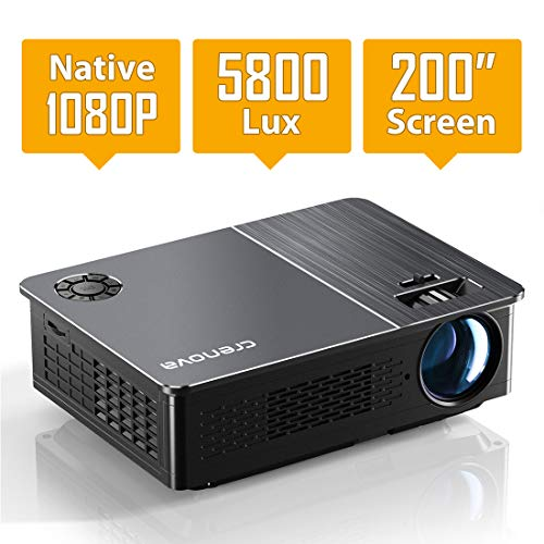 Native 1080P Projector, Crenova HD Video Projector, 5800 Lux LED Movie Projector with 200