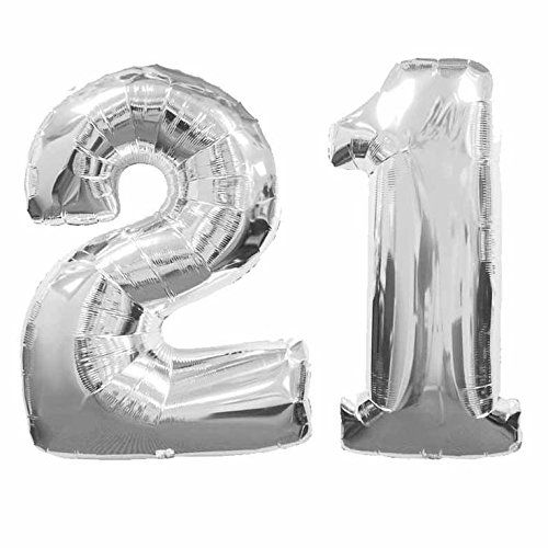 C-Spin 16 INCH 21 Silver Number Foil Balloon 16