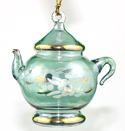 ft Etched Teapot W/Crystal - Green Small (Teapot Museum)