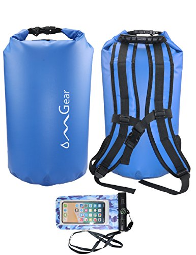 OMGear Waterproof Backpack with Waterproof Phone Pouch,30L/40L Dry Bag Sack Waterproof Bag for Kayaking,Boating,Sailing,Canoeing,Rafting,Hiking,Camping,Beach,Fishing,Swimming (Dark Blue, 30L)