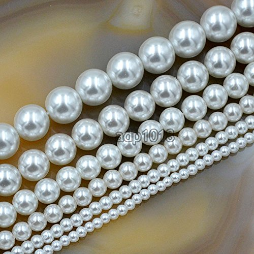 AD Beads Top Quality Czech Glass Pearl Round Beads 16 3mm 4mm 6mm 8mm 10mm 12mm (3mm, White)