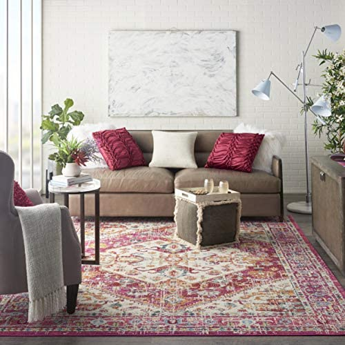 Nourison PSN23 Passion Floral Chic Ivory Pink Area Rug 8 x 10 , 8 X 10 ,