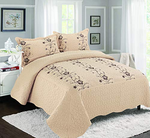 Golden Linens Over Size 3 Pieces Solid Color Embroidery Floral Design Quilt Bedspread Coverlet Set with Two Pillow Shams (Taupe, - Embroidery Bedspread