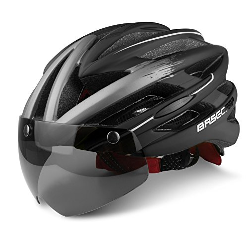 Visor Goggles - Basecamp Specialized Bike Helmet with Detachable Magnetic Visor Sunglasses Goggles Shield for Road & Mountain Biking Cycling Helmet Bicycle Helmets Safety Sport Head Protect Bike Helmets (Black black)