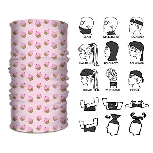 Chen AA Variety Pink Cupcakes Wallpaper Headband Headscarf Neck Gaiter for Workout ()