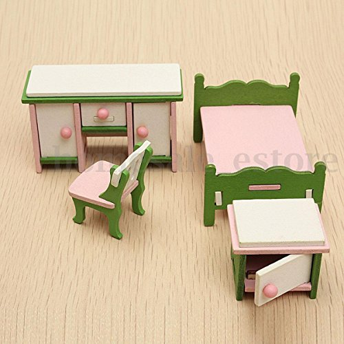 Doll House Miniature Bedroom Wooden Furniture Set Kids Role Pretend Play Toy (Cheapest Dining Sets Furniture)