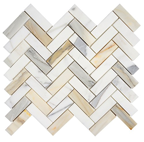 Italian Calacatta (Calcutta) Gold Marble 1 X 3 Herringbone Mosaic Tile, Honed by Tiles R Us