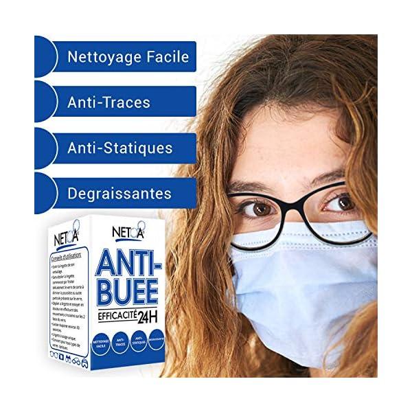 Netoa ® – Paquete de 120 toallitas antivaho para todo tipo de lentes, gafas graduadas, de sol, de natación, máscaras de buceo, prismáticos, ideales contra el vapor y el vaho 6