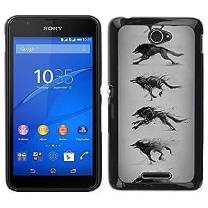 Caucho caso de Shell duro de la cubierta de accesorios de protección BY RAYDREAMMM - Sony Xperia E4 - Lobo que corre Dibujo Lápiz Arte del perro salvaje