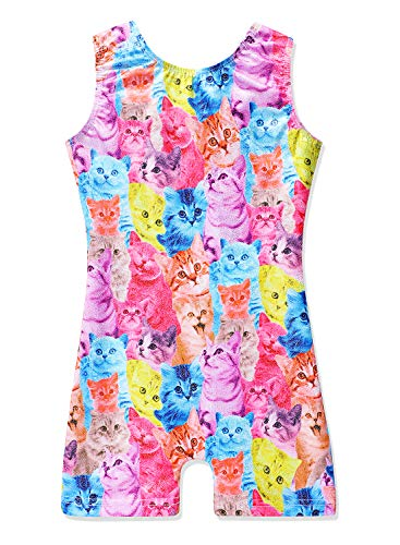 Cat leotards for girls gymnastics 7-8 year old size 7/8 rainbow cats colorful cats unitard -