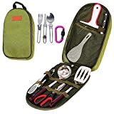 Ezyoutdoor 7 in 1 (Soup Spoon, Cutting Board, Rice Paddle, Tongs, Scissors, Knife,Spatula) Outdoor Travel Camping Cooking Utensils Set for BBQ Camping Hiking Travel With Storage Bag