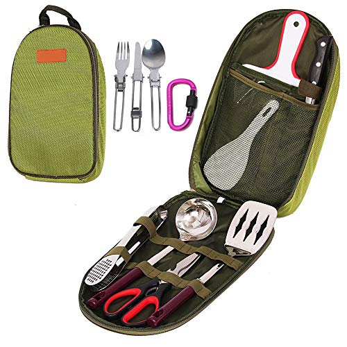 - Ezyoutdoor 7 in 1 (Soup Spoon, Cutting Board, Rice Paddle, Tongs, Scissors, Knife,Spatula) Outdoor Travel Camping Cooking Utensils Set for BBQ Camping Hiking Travel With Storage Bag